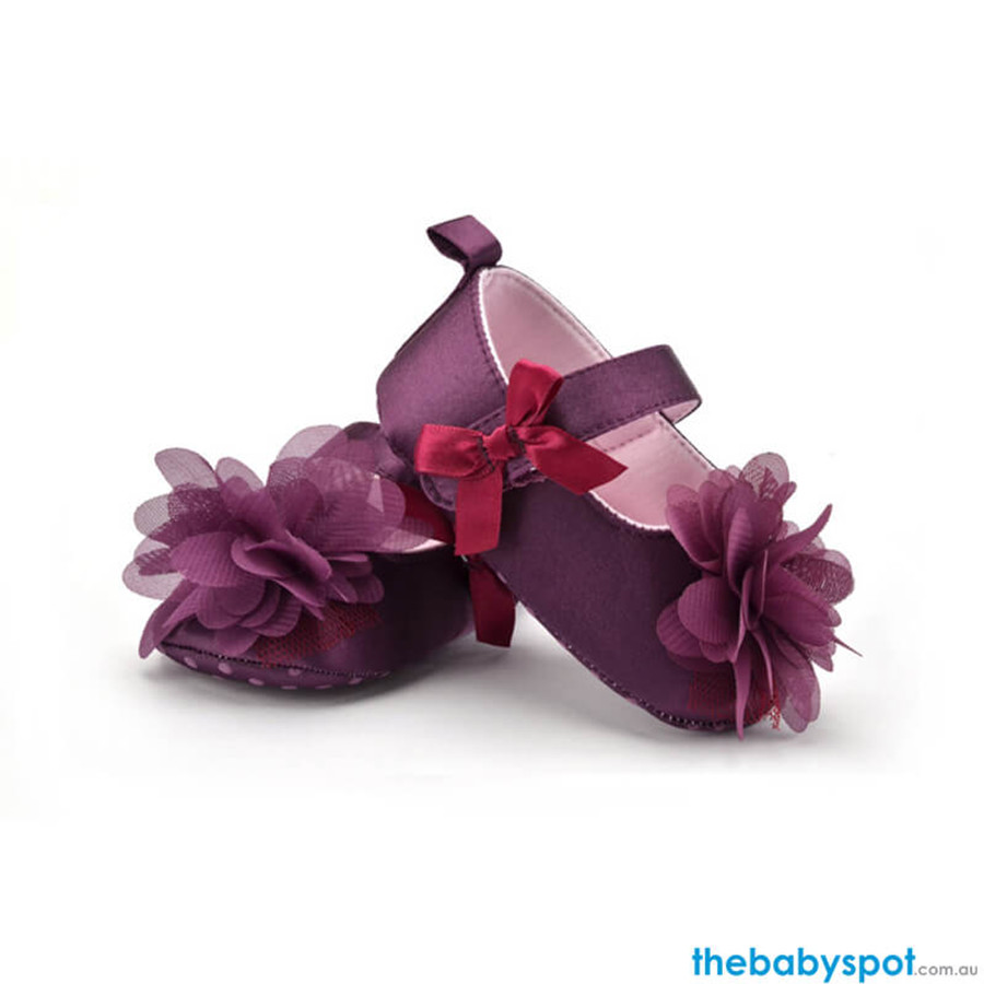 Flower Baby Shoes - Purple
