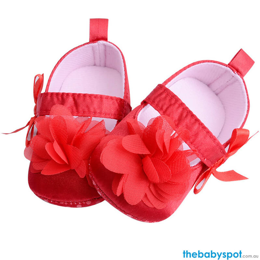 Flower Baby Shoes - Red