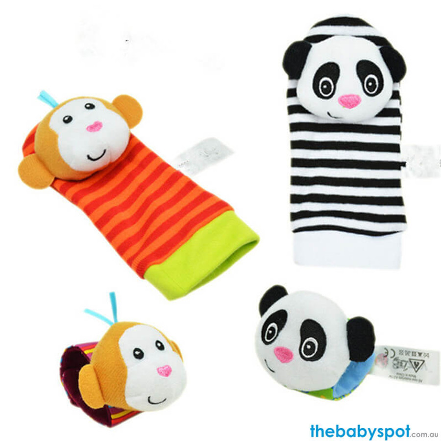 Baby Rattle Socks - Panda/Monkey