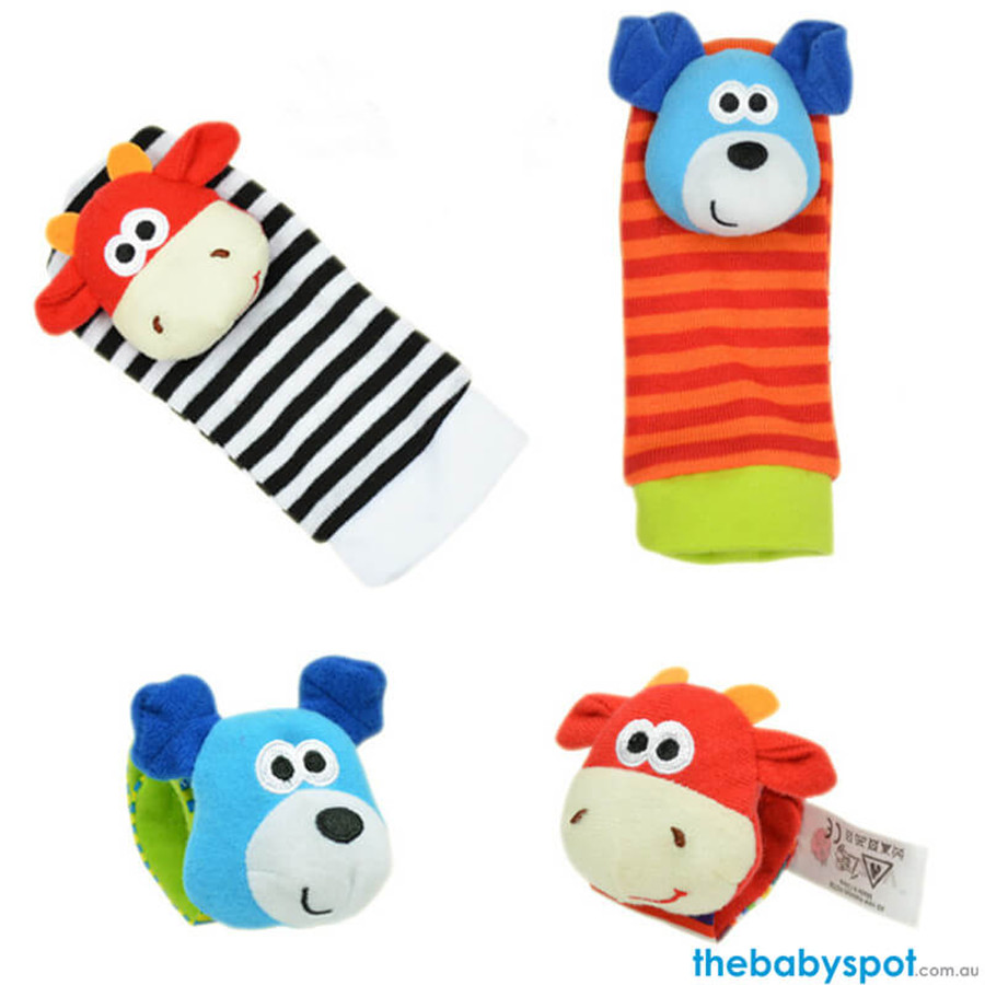 Baby Rattle Socks - Cow/Dog