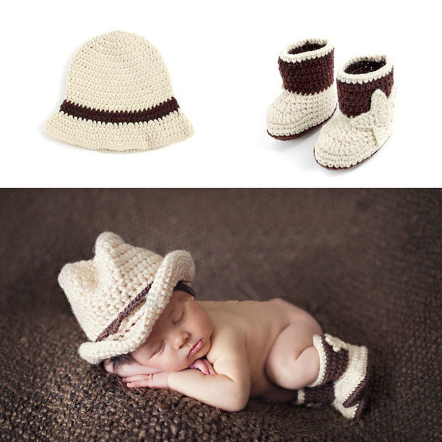 Cowboy Crochet Newborn Photography Props