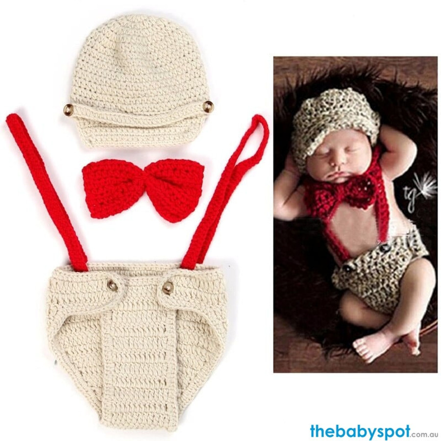 Suspender Newborn Photography Props - Red