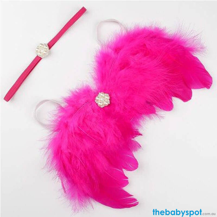Newborn Angel Wings & Pearl Headband - Hot Pink