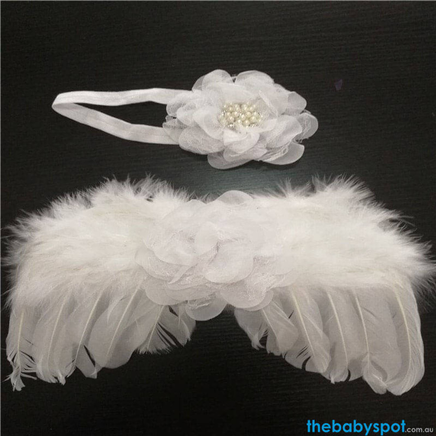 Newborn Angel Wings & Pearl Headband - White