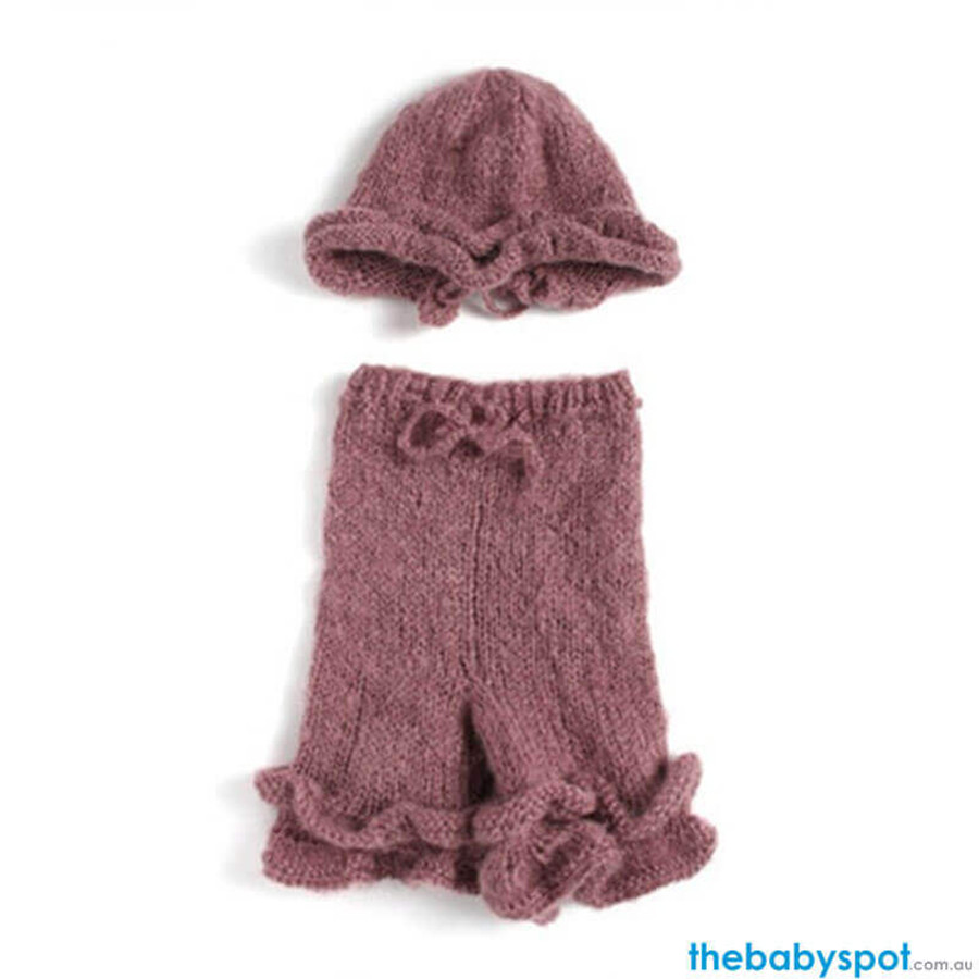 Newborn Knitted Cap and Trousers Photography Prop - Brown