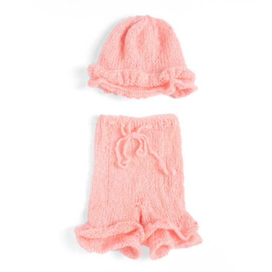 Newborn Knitted Cap and Trousers Photography Prop - Pink