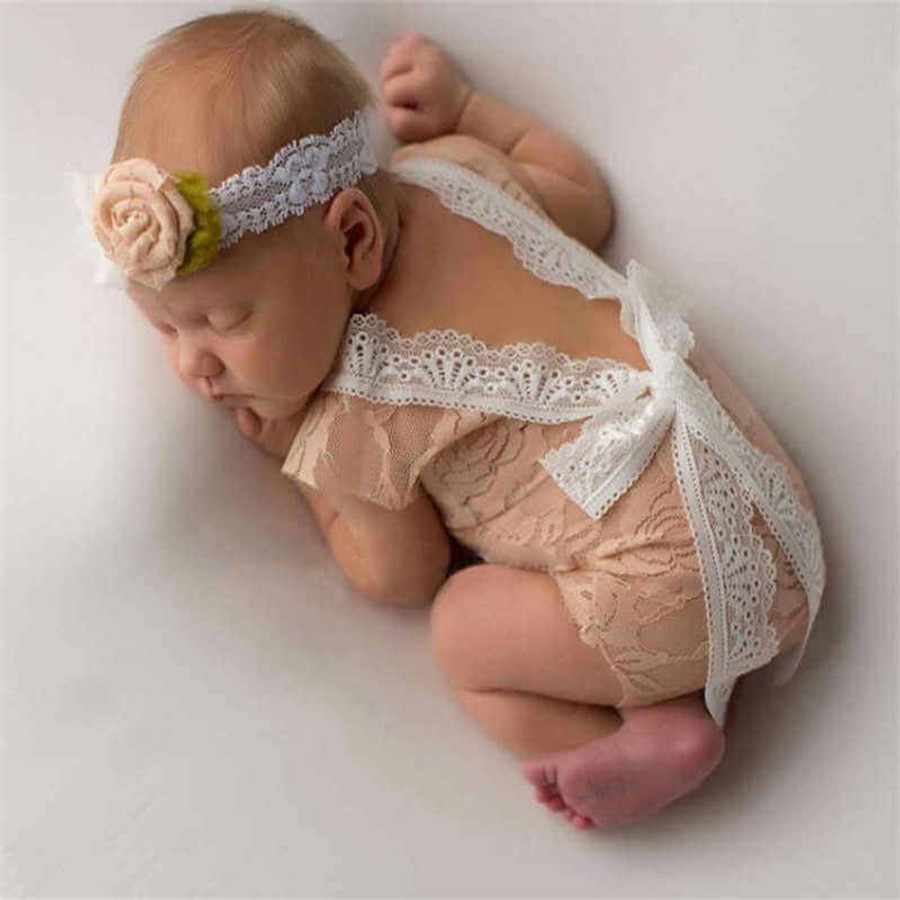 Newborn Deep V Bare Back Romper Photo Prop