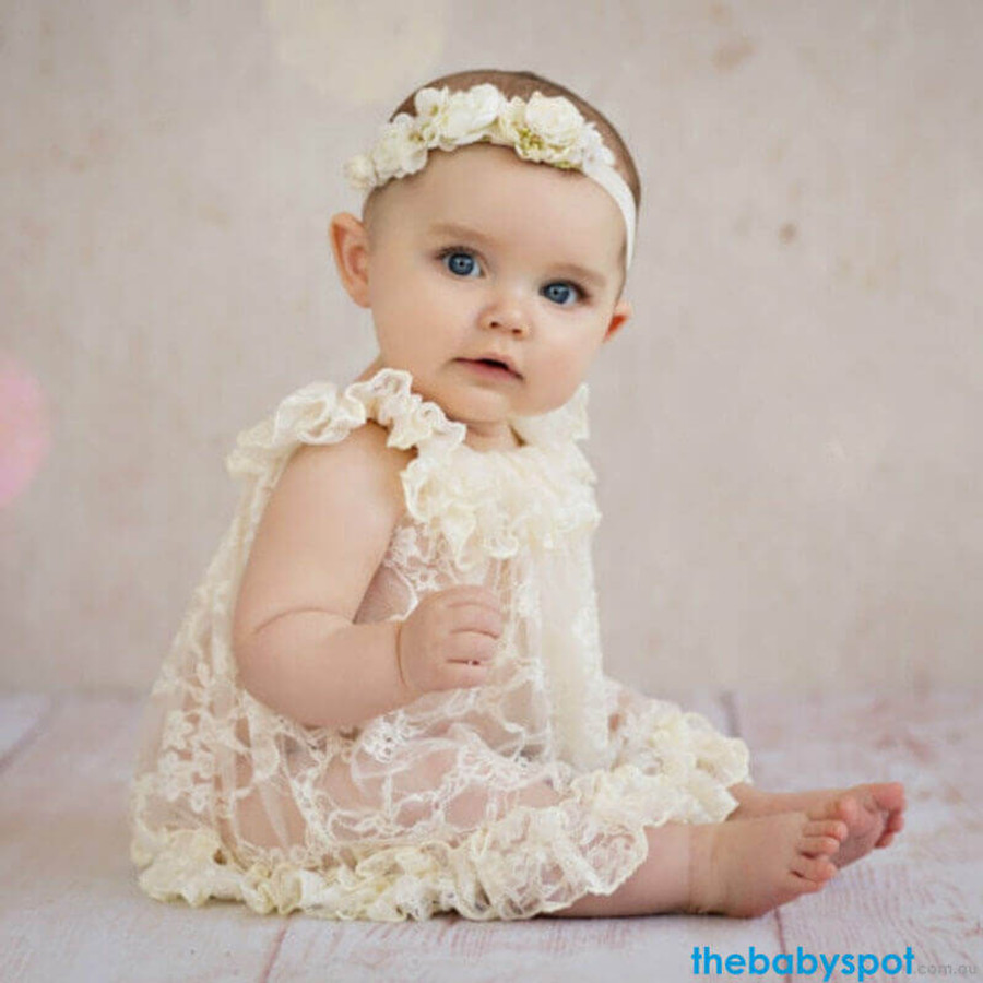 Newborn Floral Lace Dress Photo Prop - Yellow