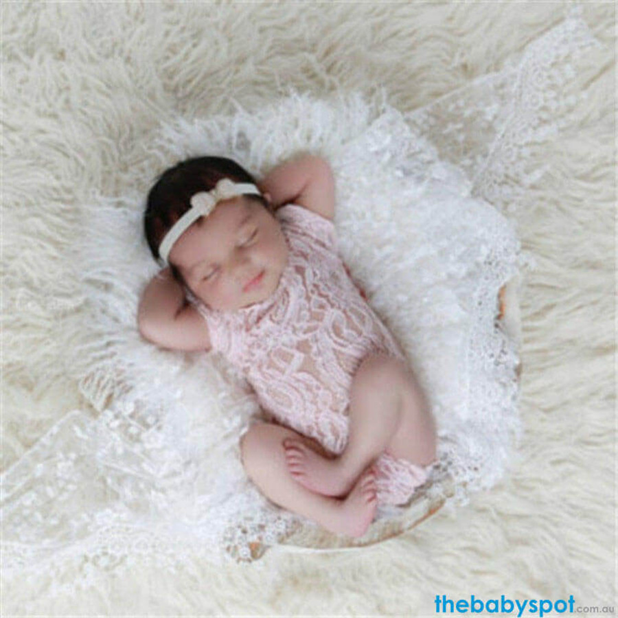Newborn Lace Bowknot Jumpsuit Photo Prop