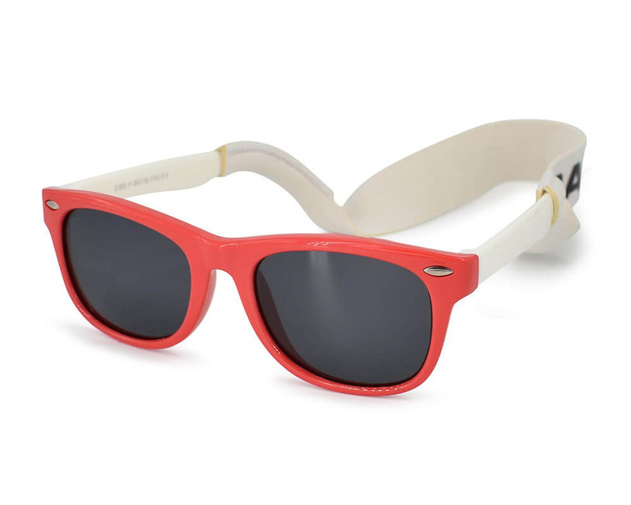 Baby Sunglasses With Strap - Red/White | Rad-Rayz
