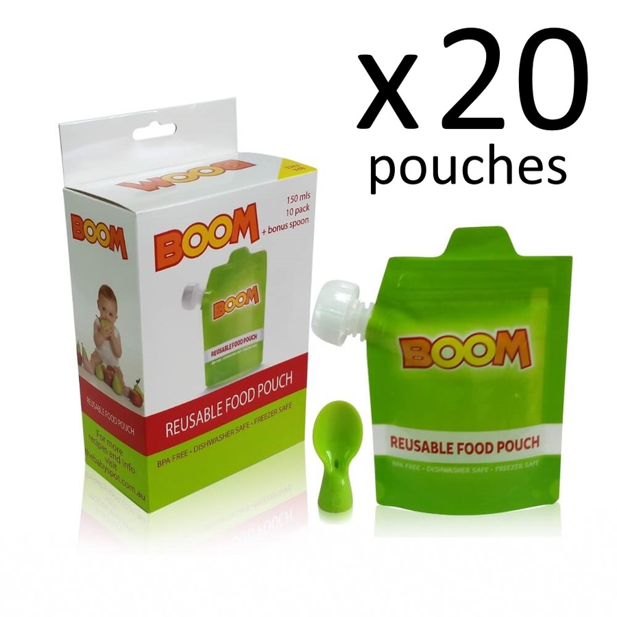 BOOM Reusable Food Pouch 20 PK with Bonus Spoon
