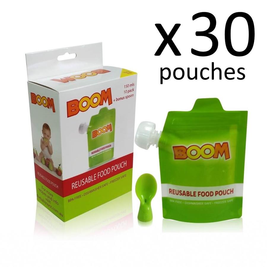 BOOM Reusable Food Pouch 30 PK with Bonus Spoon
