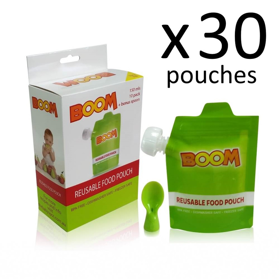 BOOM Reusable Food Pouch 30 PK with Bonus Spoon