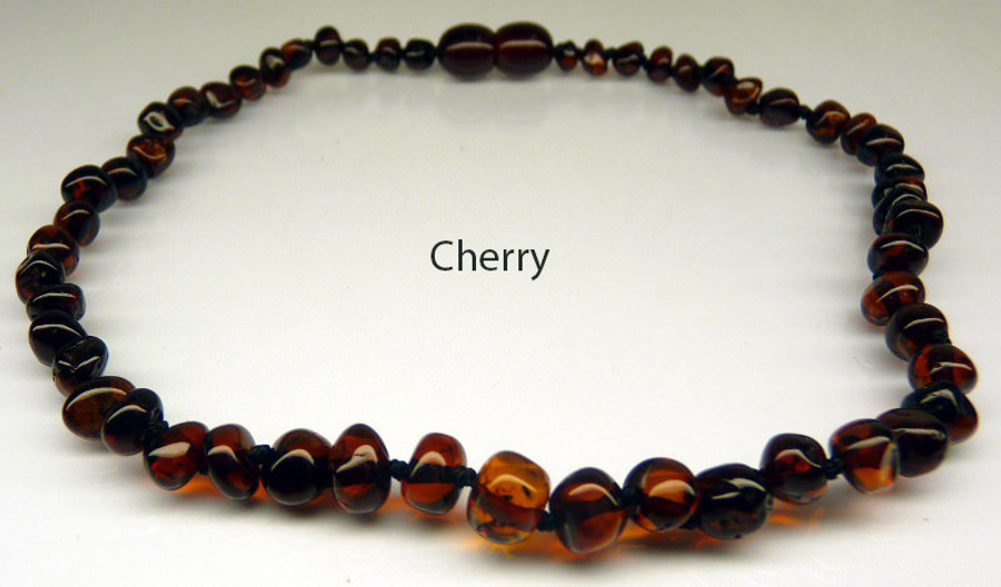 Amber Teething Necklace - Cherry