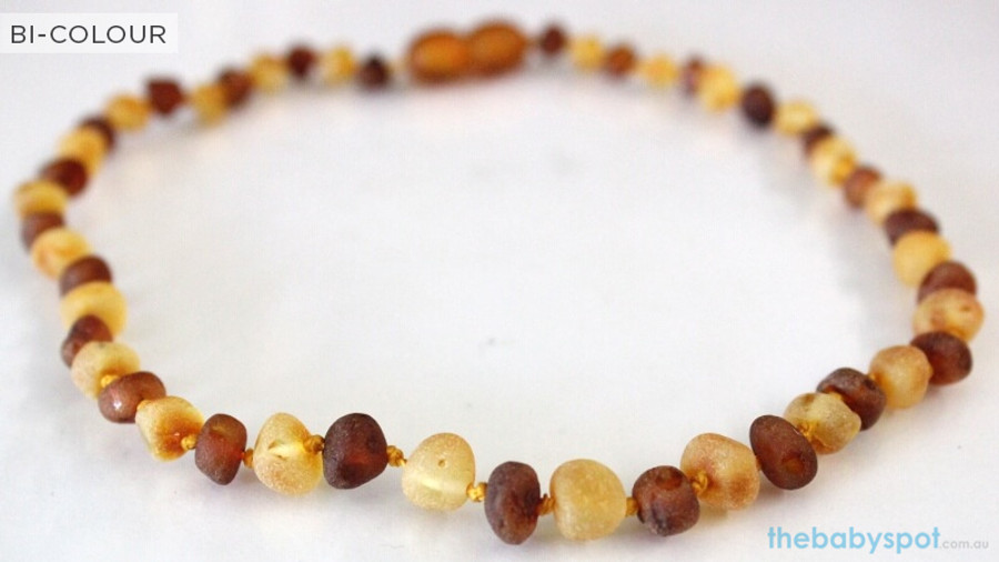 Raw Amber Teething Necklaces  - BI-COLOUR