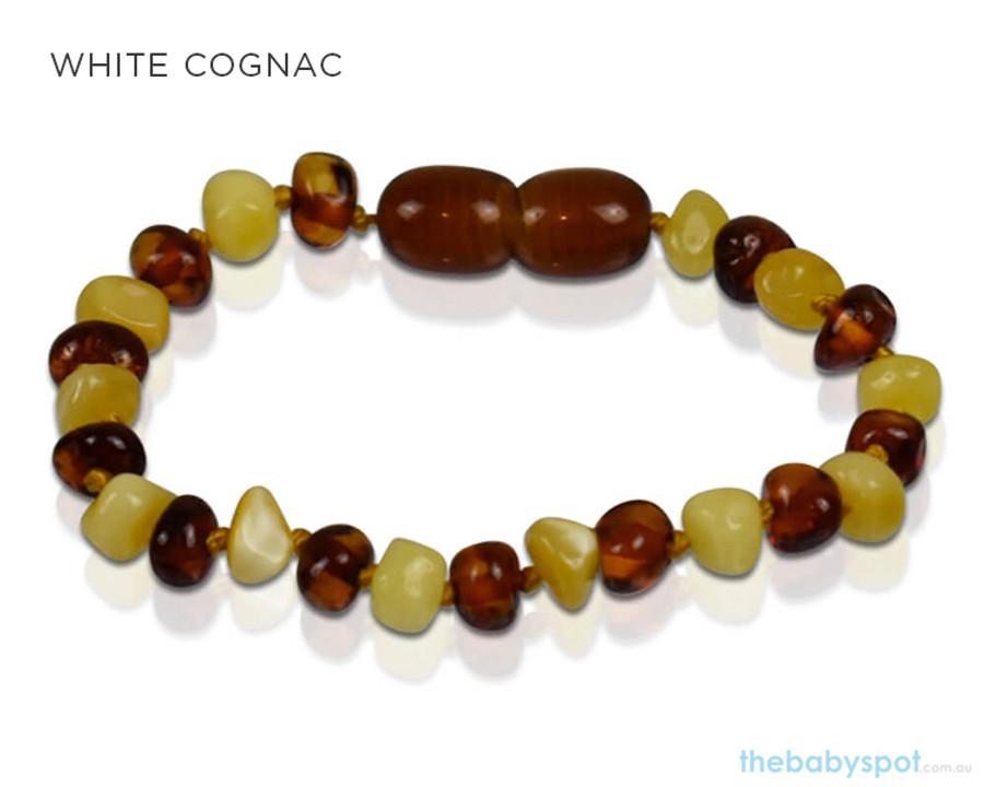 Amber Teething Bracelets - WHITE COGNAC