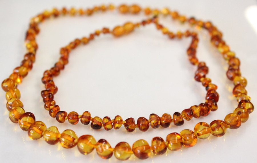 Amber Necklaces for Mum and Baby - COGNAC
