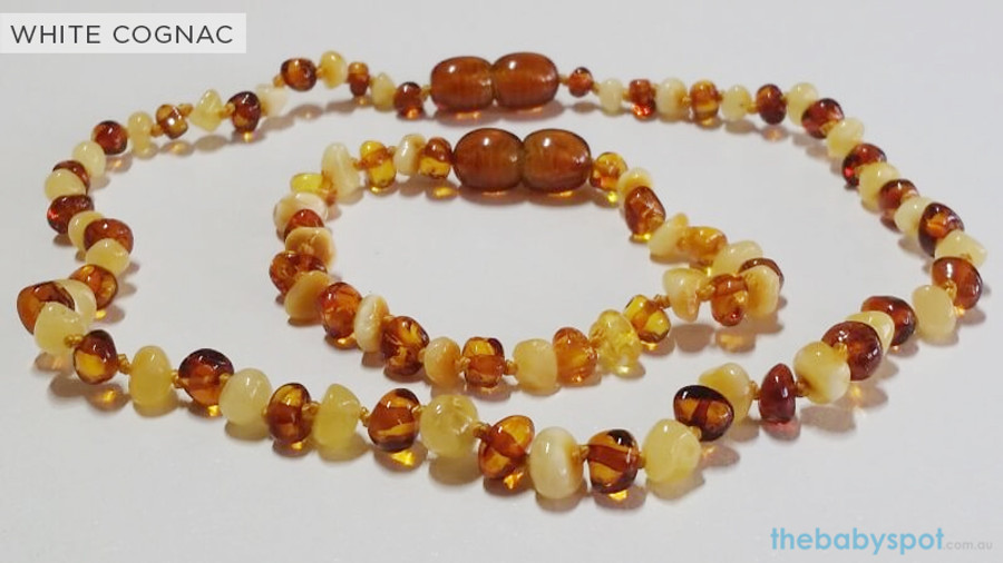 Amber Teething Sets For Baby - WHITE COGNAC