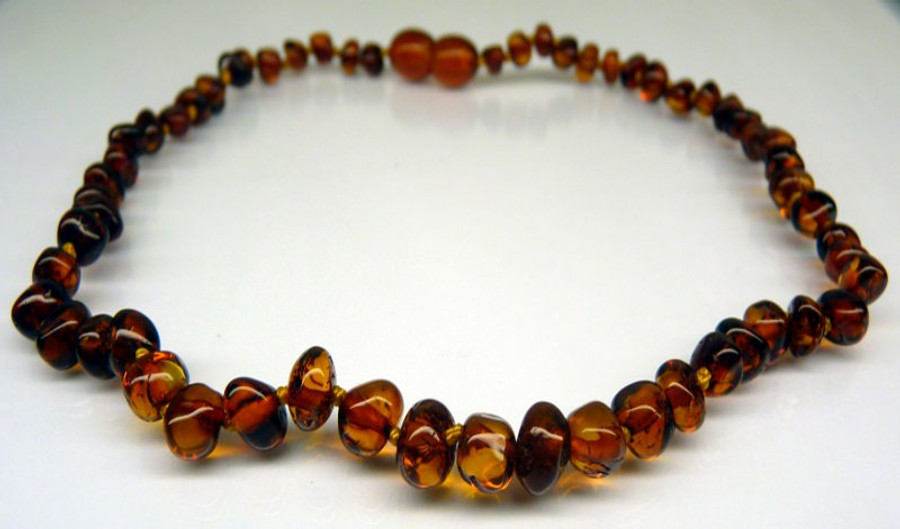 Amber Teething Necklace - Cognac