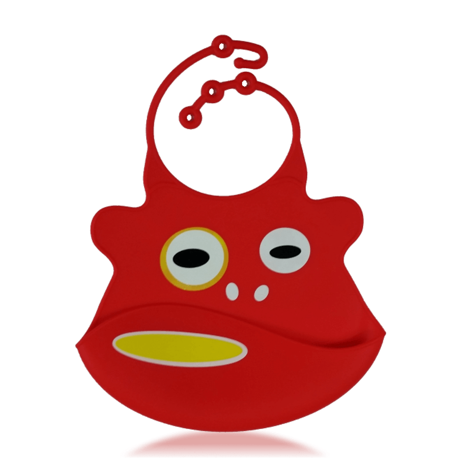 Silicone Baby Bibs with Crumb Catcher - Monkey