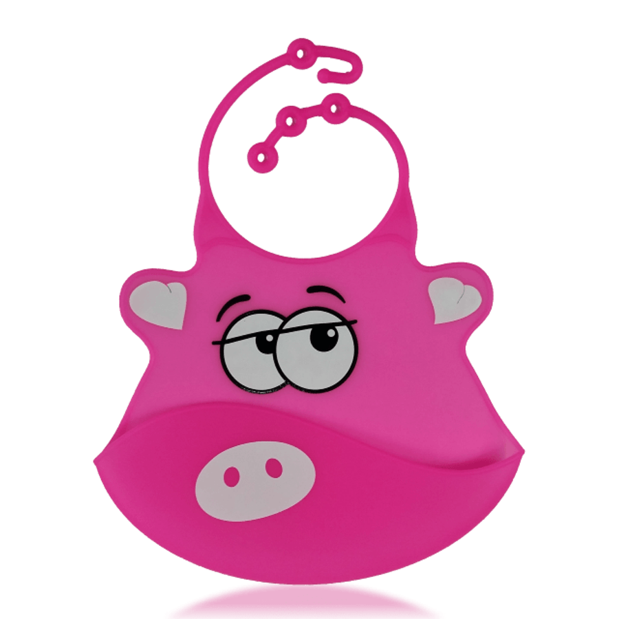 Silicone Baby Bibs with Crumb Catcher - Pig