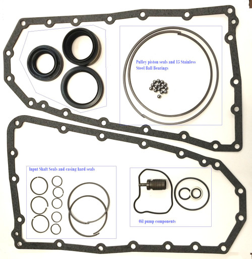 This overhaul kit Part 1 is including Stainless steel Ball Bearings for the Pulleys and a redesigned Relief valve for the Oil pump which will never fail