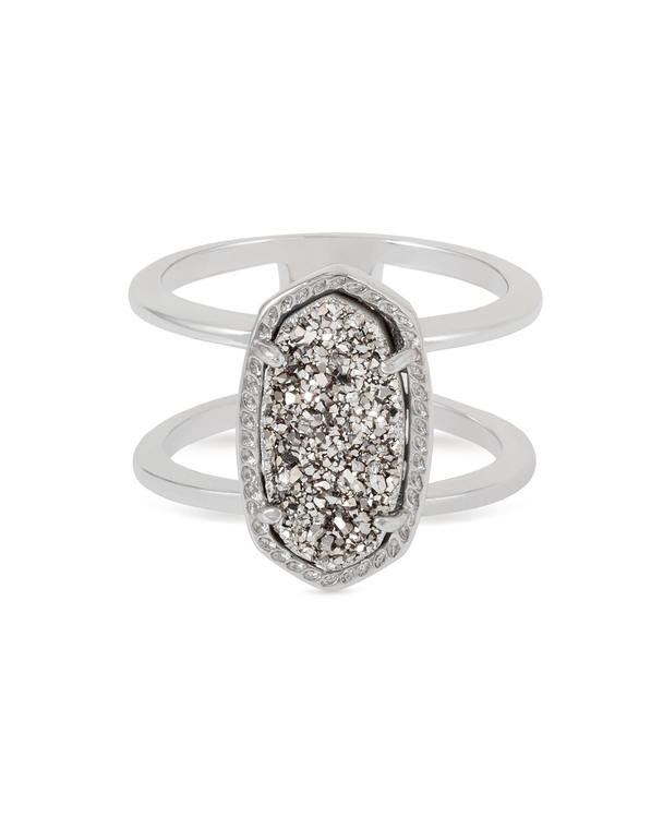 Elyse Ring Rhodium/Platinum Drusy Size 6