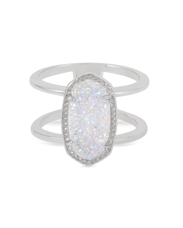 Elyse Ring Rhodium/Iridescent Drusy Size 6