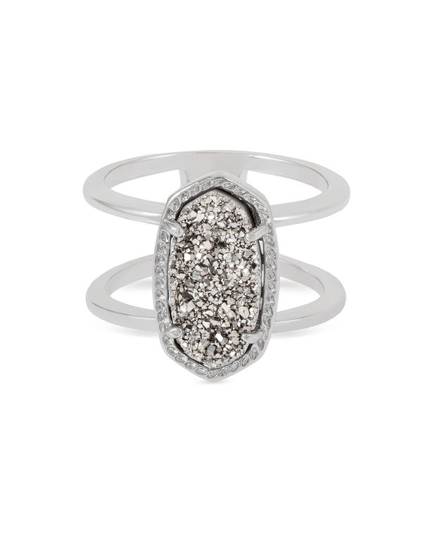 Elyse Ring Rhodium/Platinum Drusy Size 8