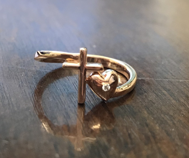 Cross/Heart Purity Ring (Rose Gold)