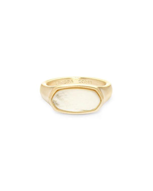 Mel Ring Gold Tone/8 Ivory MOP