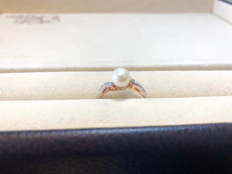 10K Rose Gold Freshwater Pearl Ring