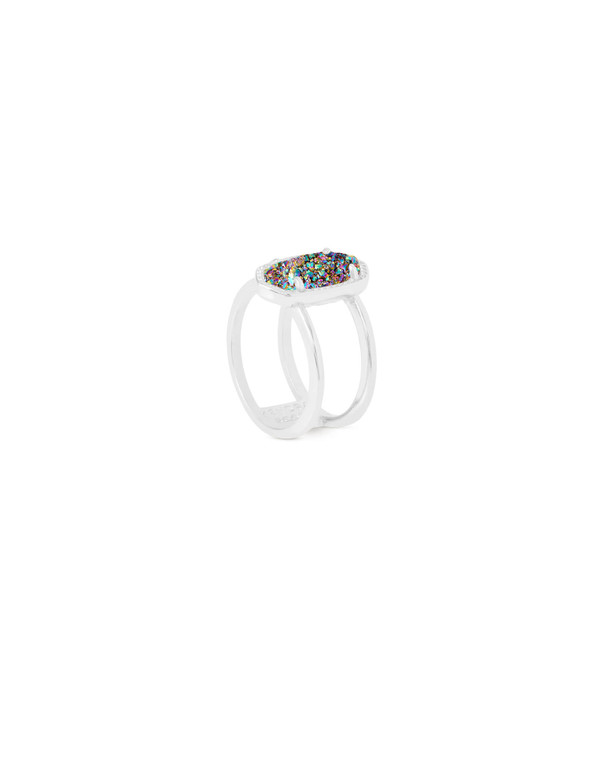 Elyse Ring in Silver Multi-Color Drusy Size 7