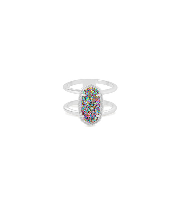 Elyse Ring in Silver Multi-Color Drusy Size 6