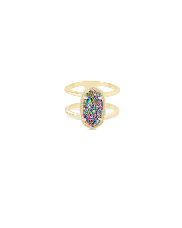 Elyse Ring in Gold Multi-Color Drusy Size 7