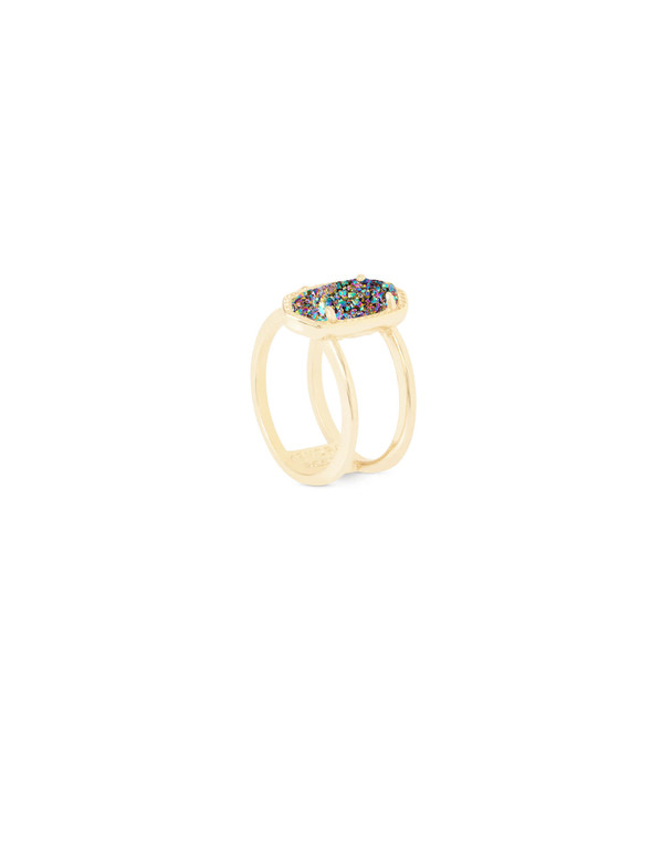 Elyse Ring in Gold Multi-Color Drusy Size 6