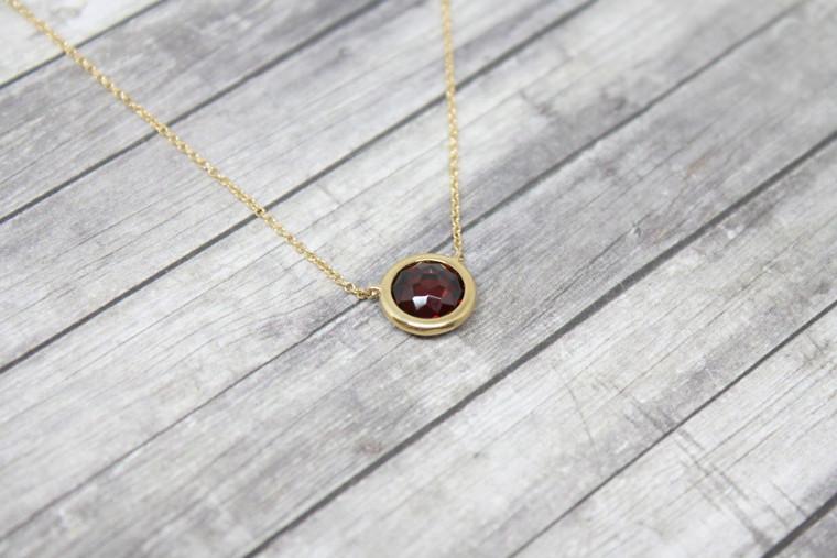 Bezel Set Garnet Necklace