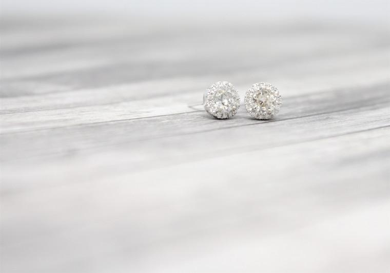 .50cttw Round Diamond Halo Earrings