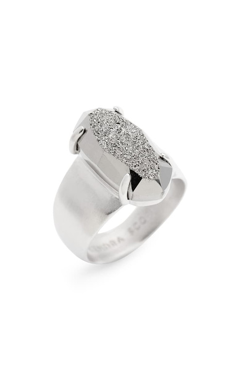 Harrison Cocktail Ring Rhodium Platinum Drusy Size 8