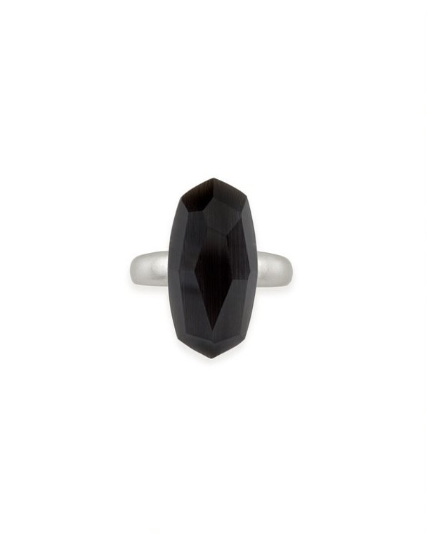 Dani Cocktail Ring Rhodium Black Cats Eye size 6