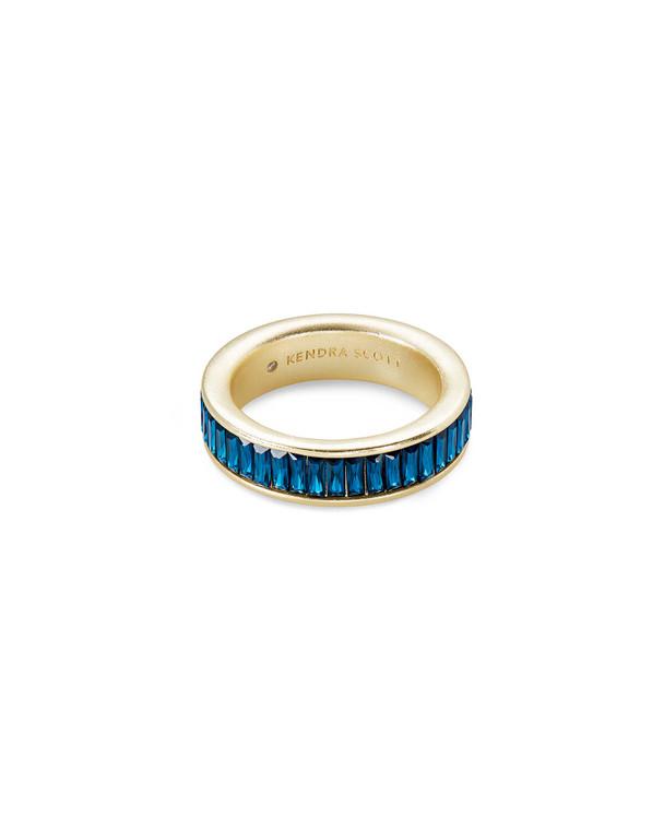 Jack Band Ring Gold Blue Crystal size 7