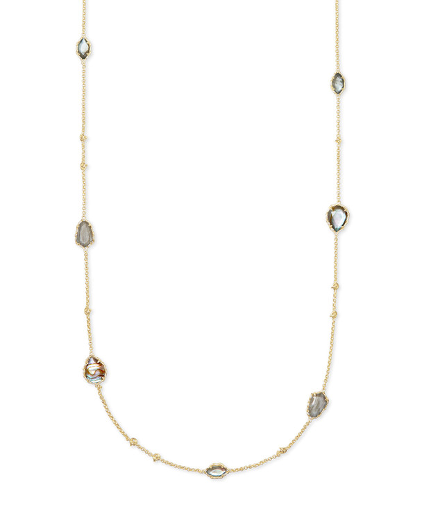 Kendra Scott Gwenyth Long Strand Necklace GoldToned Gray Mix