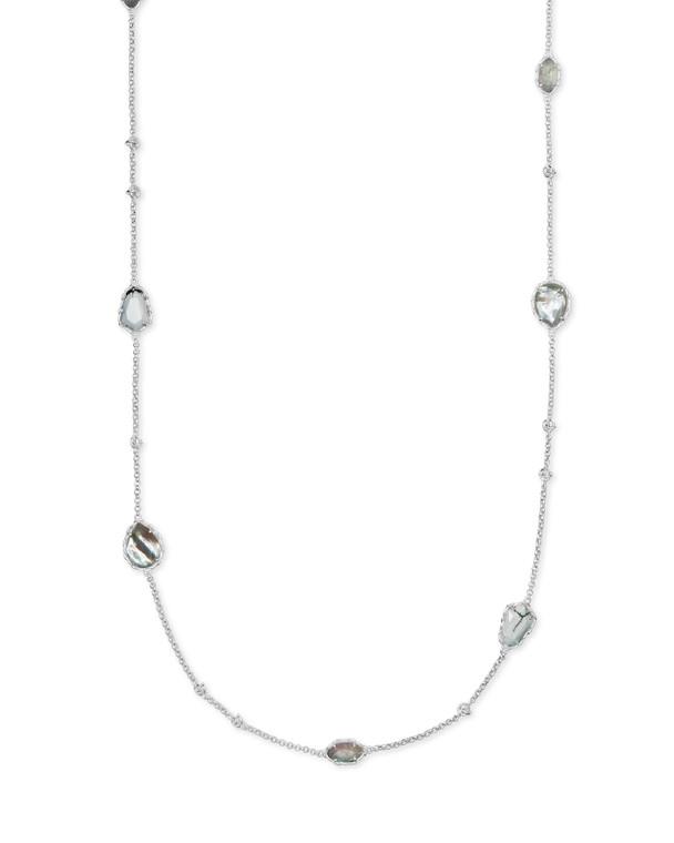 Kendra Scott Gwenyth Long Strand Necklace Rhodium White Mix