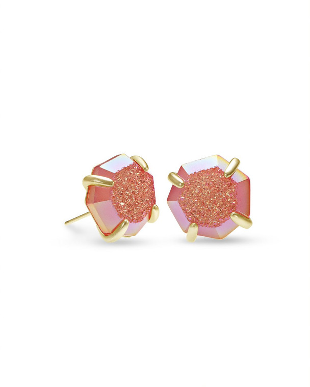Ryan Stud Earring Gold Tone/Coral Drusy
