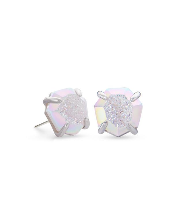 Ryan Stud Earring Rhodium/Iridescent Drusy