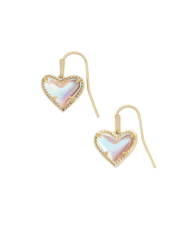 Ari Heart Drop Earring Gold Tone/Dichroic Glass