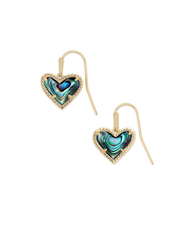 Ari Heart Drop Earring Gold Tone/Abalone Shell