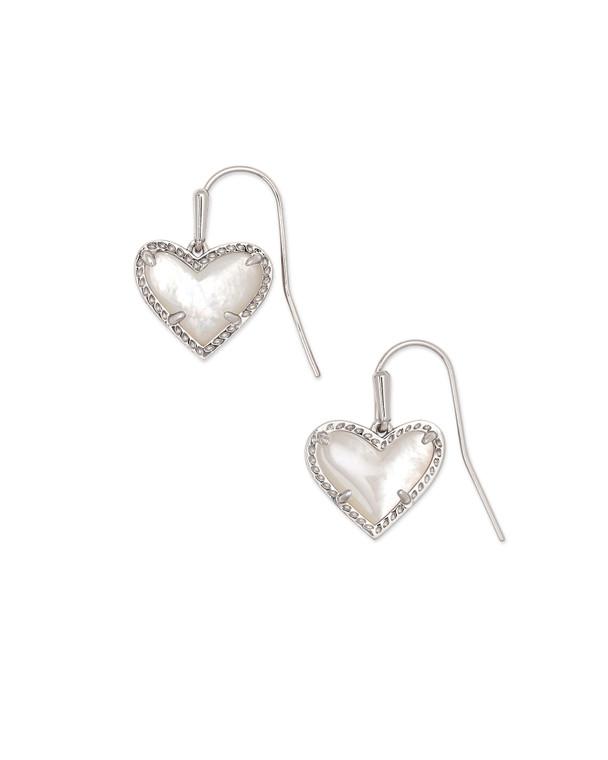 Ari Heart Drop Earring Rhodium/Ivory Mother of Pearl
