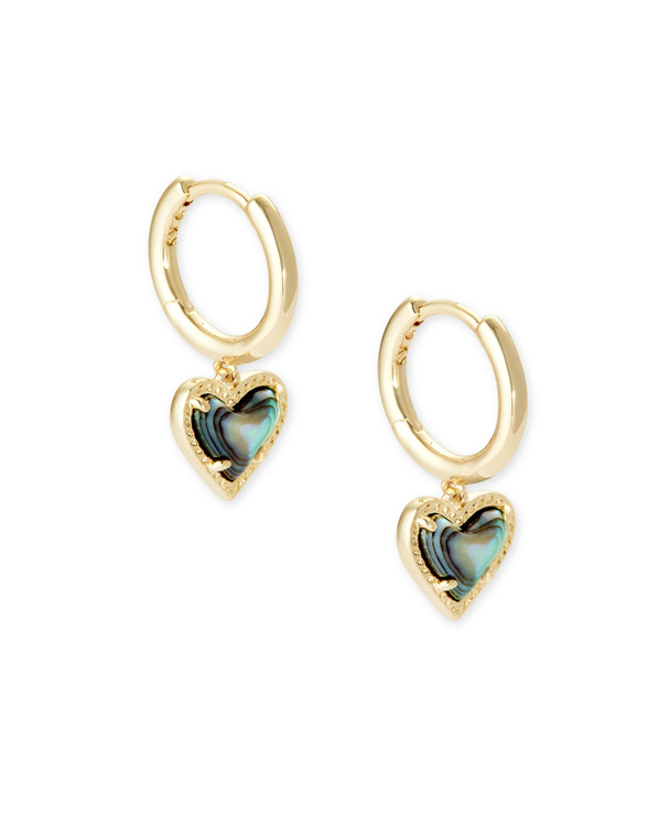 Ari Heart Huggie Earring Gold Tone/Abalone Shell