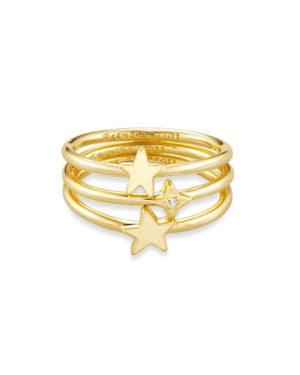 Jae Star Ring Set of Three Mixed Metal/Size 6